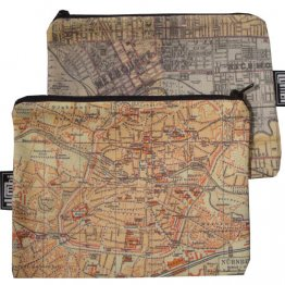 My Two Worlds Pencil Case 18x10cm Melbourne & Nuremberg Maps