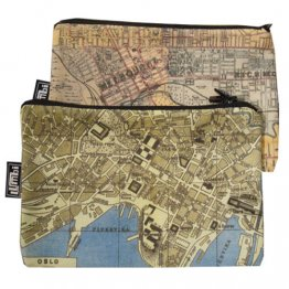 My Two Worlds Pencil Case 18x10cm Melbourne & Oslo Maps