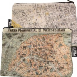 My Two Worlds Pencil Case 18x10cm Melbourne & Paris Metropolitan Maps