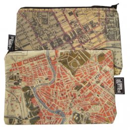 My Two Worlds Pencil Case 18x10cm Melbourne & Rome Maps