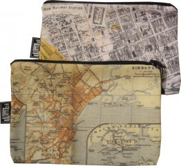 My Two Worlds Pencil Case 18x10cm Melbourne & Singapore Maps