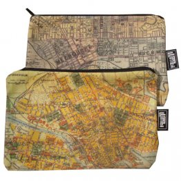 My Two Worlds Pencil Case 18x10cm Melbourne & Stockholm Maps