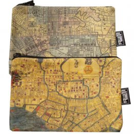 My Two Worlds Pencil Case 18x10cm Melbourne & Tokyo Maps