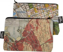 My Two Worlds Pencil Case 18x10cm Melbourne & Yokohama Maps