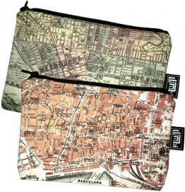 My Two Worlds Pencil Case 18x10cm Melbourne & Barcelona Maps