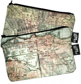 My Two Worlds Pencil Case 18x10cm Melbourne & Beirut Maps