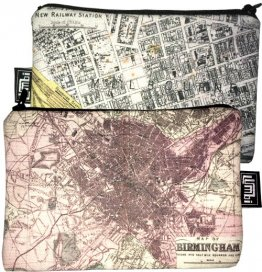 My Two Worlds Pencil Case 18x10cm Melbourne & Birmingham Maps
