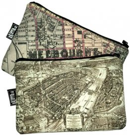 My Two Worlds Pencil Case 18x10cm Melbourne & Frankfurt Maps