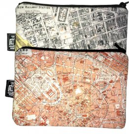 My Two Worlds Pencil Case 18x10cm Melbourne & Milan Maps