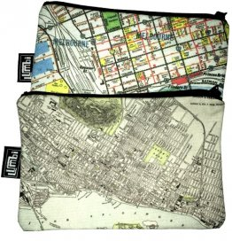 My Two Worlds Pencil Case 18x10cm Melbourne & Montreal Maps