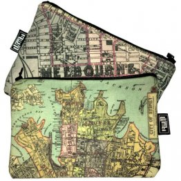 My Two Worlds Pencil Case 18x10cm Melbourne & Sydney Maps