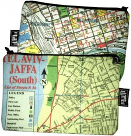 My Two Worlds Pencil Case 18x10cm Melbourne & Tel Aviv Maps