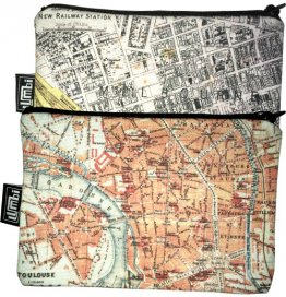 My Two Worlds Pencil Case 18x10cm Melbourne & Toulouse Maps