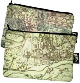 My Two Worlds Pencil Case 18x10cm Melbourne & Warsaw Maps