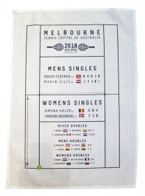 Tea Towel 50x70cm Linen/Cotton Tennis Capital 2018 Game Winners