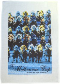 Tea Towel 50x70cm Linen/Cotton Melbourne Cup Blue