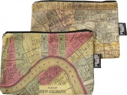 My Two Worlds Pencil Case 18x10cm Melbourne & New Orleans Maps
