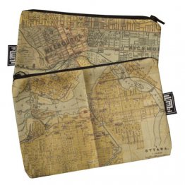 My Two Worlds Pencil Case 18x10cm Melbourne & Ottowa Maps