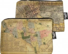 My Two Worlds Pencil Case 18x10cm Melbourne & Washington Maps