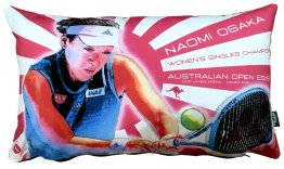 Cushion 50x30cm Naomi Osaka 2019 Australian Open Winner Red & White