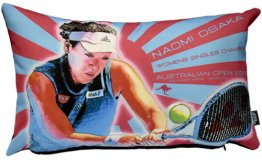 Cushion 50x30cm Naomi Osaka 2019 Australia Open Winner Red & Blue