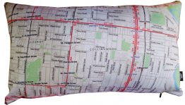 Cushion 50x30cm Neighbourhood Map Pillow