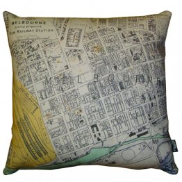 Cushion 40cm New Railway Station Map 1878