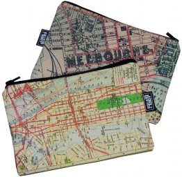 My Two Worlds Pencil Case 18x10cm Melbourne & New York Maps