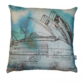 Cushion Opera House Sydney Watercolour Green