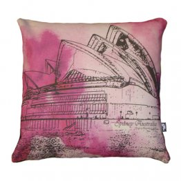 Cushion Opera House Sydney Watercolour Pink