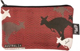 Pencil Case 18x10cm Kangaroo Dots Red