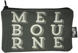 Pencil Case 18x10cm Melbourne Text Black