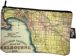 Pencil Case 18x10cm Victoria Rail Melbourne & Suburbs Map 1934