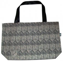 Shopper Bag 30x40x10cm Leaves Gray