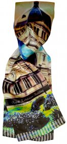Silk Scarf 150x16cm Royal Exhibition Building Blue