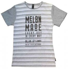 Blak Summer Stripe T-Shirt with Melbn Made Print