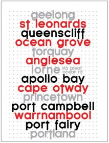 Tea Towel 50x70cm Linen/Cotton Geelong to Portland