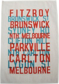 Tea Towel 50x70cm Linen/Cotton Fitzroy to Melbourne