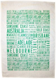 Tea Towel 50x70cm Linen/Cotton Australian Cities Green