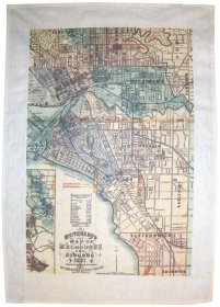 Tea Towel 50x70cm Linen/Cotton Whiteheads 1887 Map of Melbourne