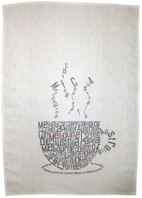 Tea Towel 50x70cm Linen/Cotton Melbourne Coffee Capital of Australia