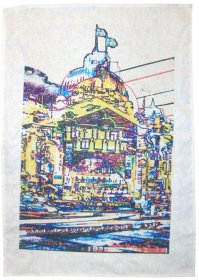 Tea Towel 50x70cm Linen/Cotton  Flinders Street Coloured Lines