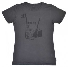 Unisex T-shirt Vintage Black Powered by Coffee Guitar