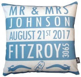 Cushion Wedding Destination Stripes Blue