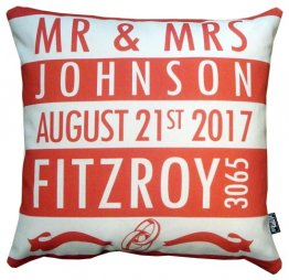 Cushion Wedding Destination Stripes Red