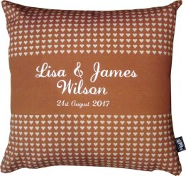Cushion Wedding Hearts Stripe Brown