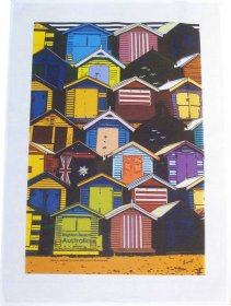 Tea Towel 50x70cm Linen/Cotton Brighton Beach Boxes
