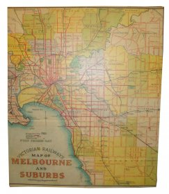 Canvas Art 100x120cm Victoria Rail Melbourne & Suburbs Map 1934