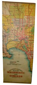 Canvas Art 45x120cm Victoria Rail Melbourne & Suburbs Map 1934