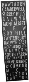 Canvas Art 53 x 181cm Destination Scroll Hawthorn to Carlton Black Vintage